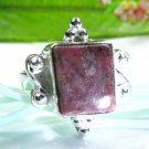Pretty fashion silver 925 & Rhodonite ring size 6 1/4 ! Gift Jewelry & Love