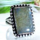 Special natural Labradorite gemstone silver ring size 6