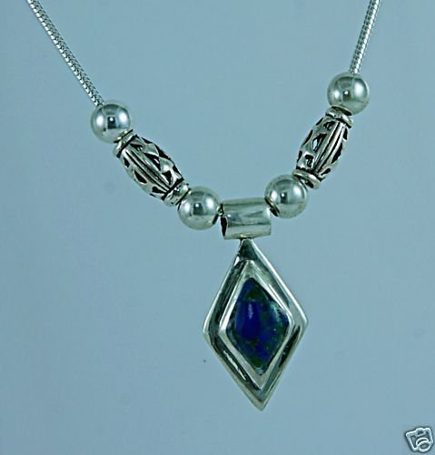 Azurite stone & silver pendant & sterling 925 necklace.