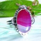 Fine fashion Botswana Agate silver 925 ring size 11