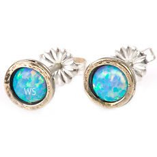 Special Gold & Silver 925 earrings placed with opal stone ! Gift Jewelry & Love