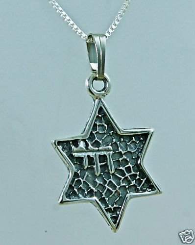 Silver 925 pendant star of David , live in hebrew + 925 chain ! Gift & Jewelry