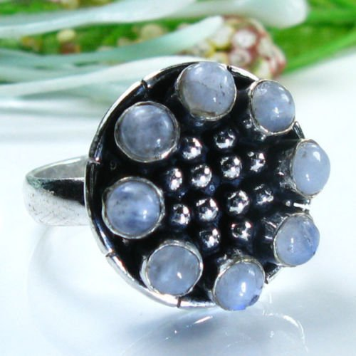 Fine special silver & rainbow moonstone ring size 8 1/2 ! Gift Jewelry & Love
