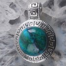 Natural chrysocolla gemstone silver pendant & Necklace ! Gift Jewelry & Love