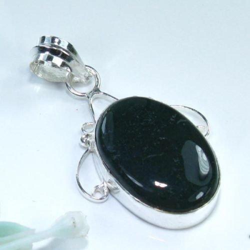 black quartz silver 925 pendant + sterling 925 necklace ! Gift Jewelry & Love