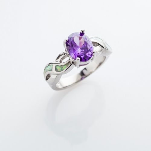 Fashion blue opal amethyst gemstone zircon silver ring size 5.5 ! Gift & Jewelry