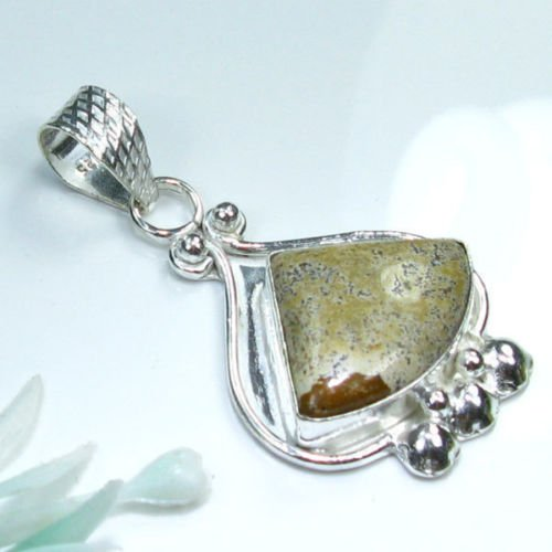 Natural geode jasper silver pendant + sterling chain