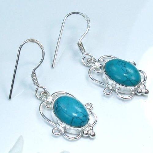 Fine fashion sterling 925 & Howlite hanging earrings ! Gift Jewelry and Love