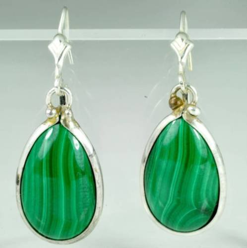 Fine fashion silver 925 earrings set with Malachite ! Gift Jewelry & Love