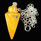 Sterling silver 925 necklace & pendant yellow pendulum Jasper ! Gift & Jewelry