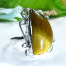 Prrety fashion silver 925 & Tiger eye ring size 7 3/4 ! Gift Jewelry and Love