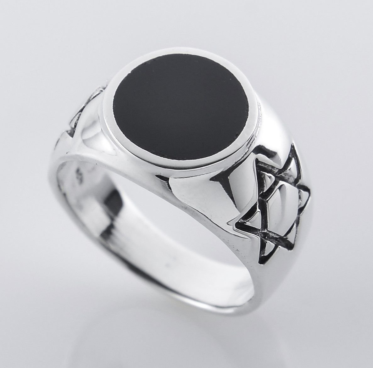 Solid sterling silver 925 David star unisex ring & Onyx size 10 ! Gift & Jewelry
