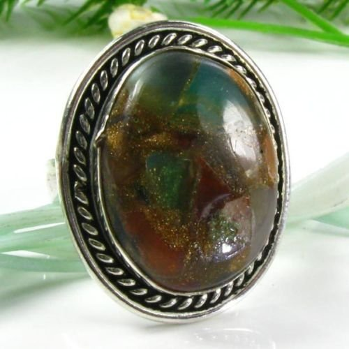 Natural copper Chalcedony stone silver ring size 8 1/4 ! Gift Jewelry & Love