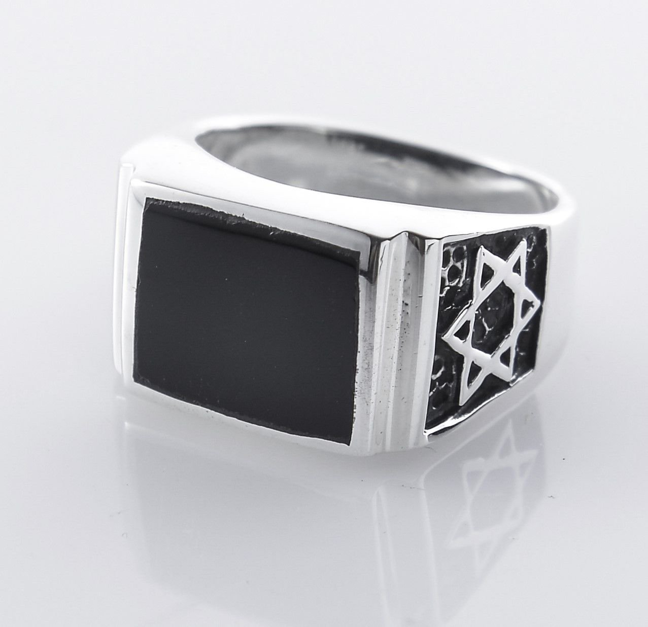 Solid sterling silver 925 David star men's ring & Onyx size 10 ! Gift & Jewelry