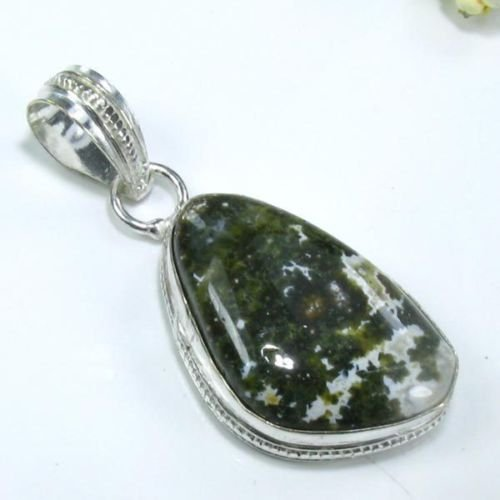 natural pretty silver 925 ocean Jasper pendant necklace ! Gift Jewelry & Love