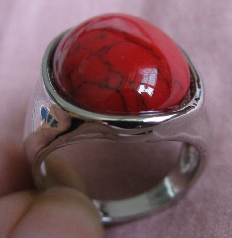 Fashion retro natural red coral Thailand silver ring size 8 ! Gift & Jewelry