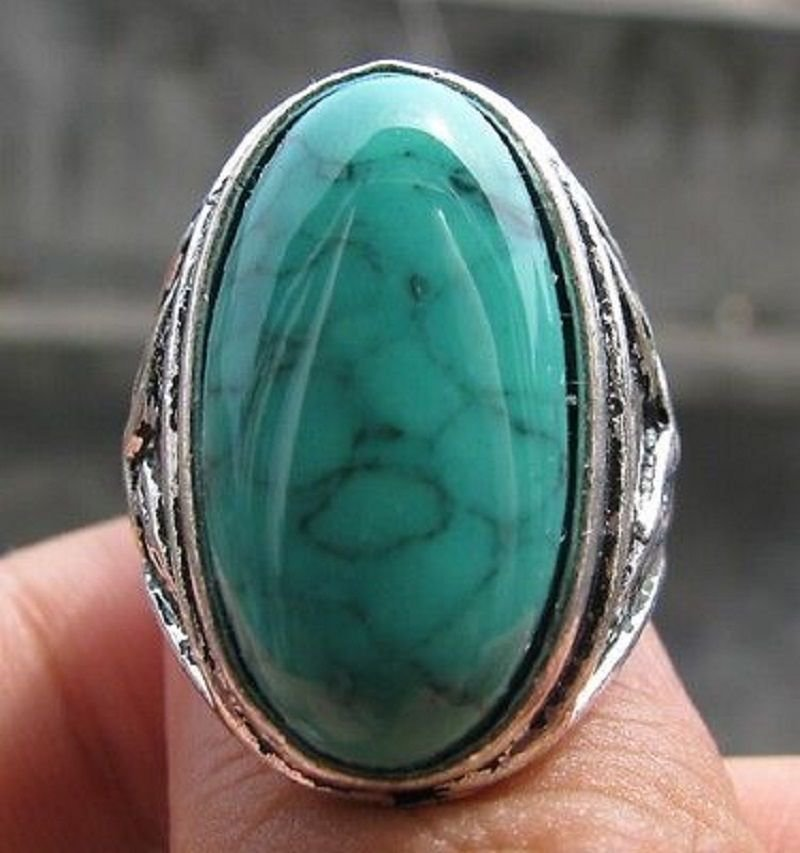 Fashion silver ring , natural Turquoise gemstone size 8 ! Gift Jewelry & Love