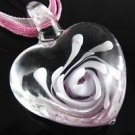 Flower Heart Handmade Art Murano Glass Pendant Ribbon Necklace ! Gift & Jewelry
