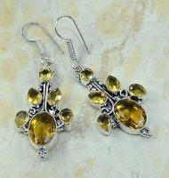 "Fashion silver lady earrings set citrine gemstone 2 1/2"" ! Gift Jewelry & Love"