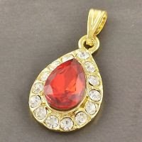 Fashion 9k gold filled tear drop red zircon pendant + necklace ! Gift & Jewelry
