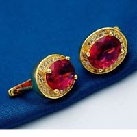 18K Gold Plated Beautiful Red Cubic Zircons Earrings ! Gift Jewelry & Love