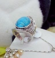 Fashion Turquoise Bead Inlay Tibet Silver Ring Size 8 ! Gift Jewelry & Love