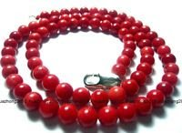 """Fashion 0.24"""" round red natural coral 18"""" beaded necklace ! Gift Love & Jewelry"""