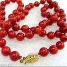 """Fashion 0.4"""" round red natural coral sea 18"""" beaded necklace ! Gift & Jewelry"""
