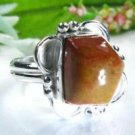 Pretty fashion silver ring set jasper gemstone size 9 ! Gift Jewelry and Love