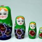 5 fine pretty vintage russian babushka matryoshka dolls