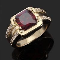 Fine fashion 10k real gold filled set red garnet ring size 10 ! Gift & Jewelry