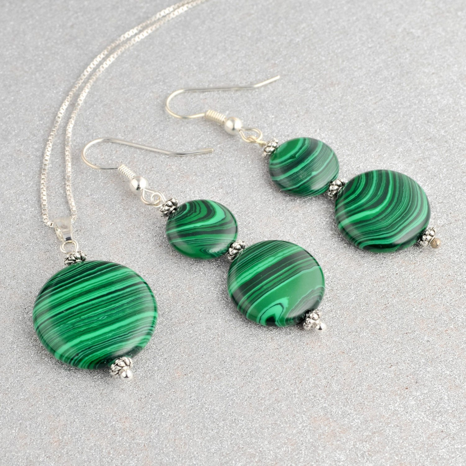Silver earrings & pendant set Malachite stone + necklace ! High Quality Jewelry