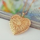 18K gold plated fashion opened heart pendant & necklace