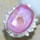 Fashion pink drusy druzy & silver woman ring size 8 1/4 ! Gift Jewelry & Love