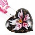 Pink Flower Handmade Art Murano Glass Pendant Ribbon Necklace ! Gift & Jewelry