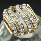 Fashion design 9k gold filled 4 rows cubic zircon ring size 7 ! Gift & Jewelry