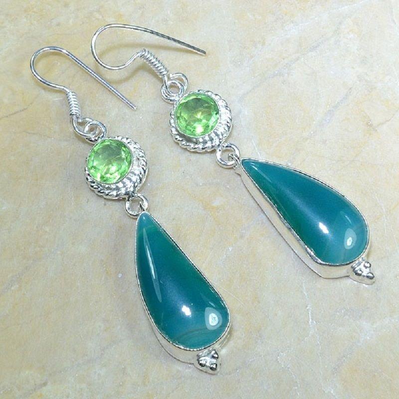 Fashion silver & agate stone + peridot gemstone earrings ! Gift Jewelry & Love