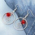 18K Gold Plated Flower Red Swarovski Crystal Earrings ! Woman fashion gifts