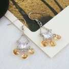 18K Gold Plated Champagne Swarovski Crystal Earrings ! Gift Jewelry & Love