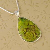 Silver necklace & pendant set green sea Sediment Jasper ! Gift Jewelry & Love