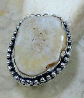 Fashion brown drusy druzy & silver woman ring size 10 ! Gift Jewelry & Love