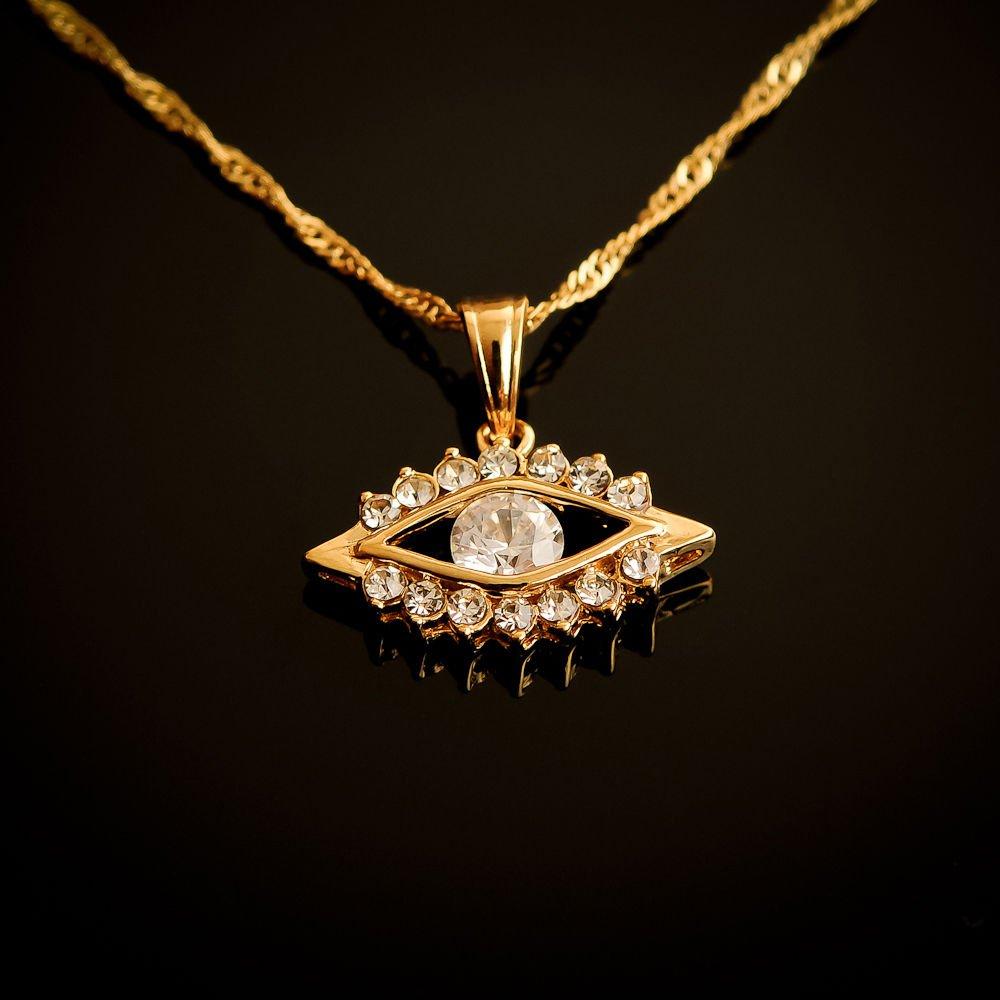 Fashion design 18k gold plated eye set zircons pendant & necklace ! Gift Jewelry