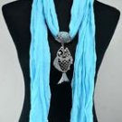 Lady Scarf Shawl Fish Pendant Necklace ! Gift Jewelry & Fashion Accessories