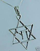 "Silver pendant star of David , ""live"" in hebrew - chain ! Gift Jewelry & love"