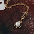 Style 18k GP apple white pearl zircon pendant necklace ! Gift Jewelry & Love