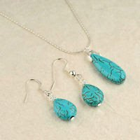 Silver earrings & pendant set Turquoise stone + necklace ! High Quality Jewelry