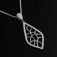 Fashion sterling silver 925 leaf zircons pendant & necklace Gift Jewelry & Love