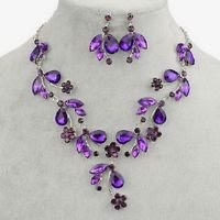 Silver plated necklace & earrings purple flowers & crystal gemstone . Size - 17.5 inch