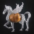 Fashion silver 925 chain & horse + tiger eye gemstone pendant ! Gift & Jewelry