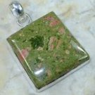 Fashion special green unakite silver pendant + necklace ! Gift Jewelry & Love